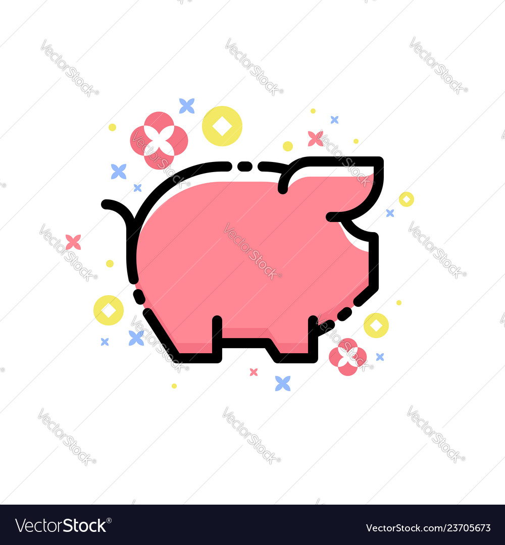 Cute pink pig and decorative elements isolated