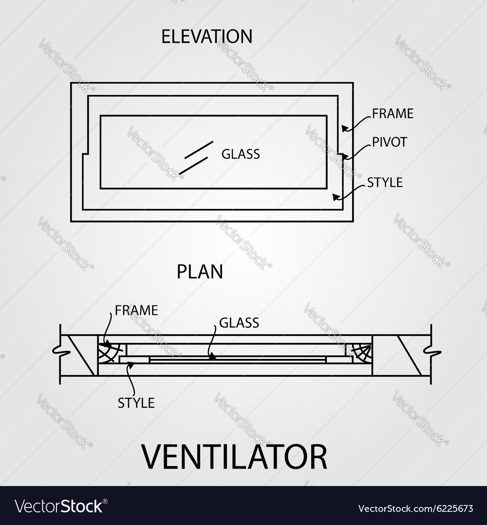 Diagram of a ventilator showing plan and elevation