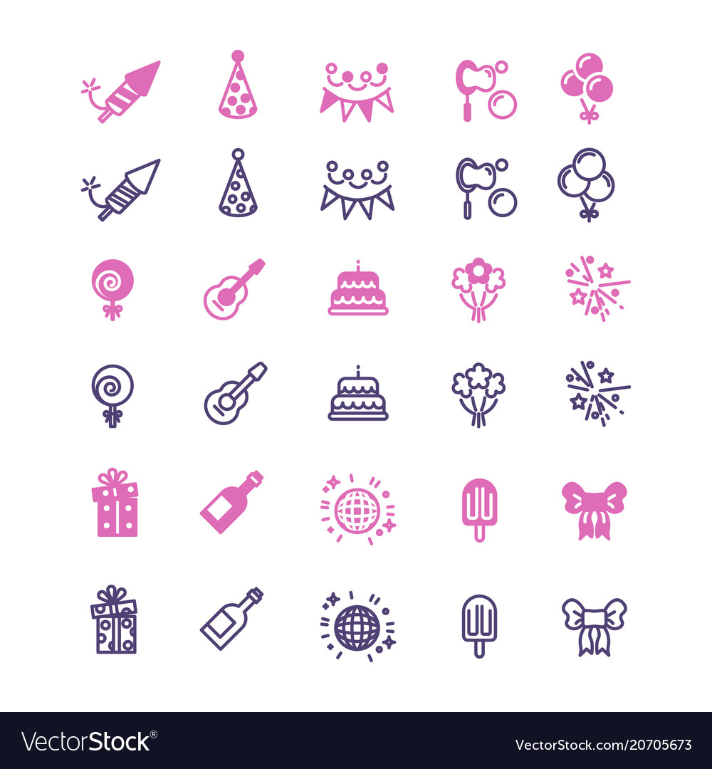 Event party birthday festive icons set