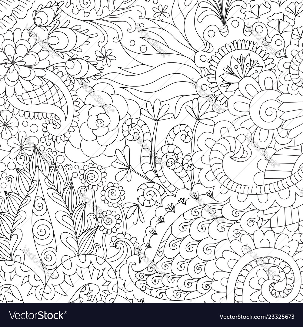 Flowers and leaves for background coloring book