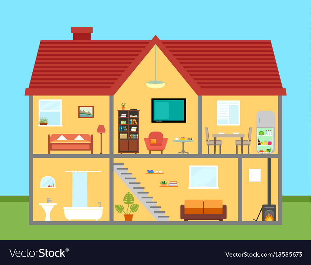 Furniture on house in cut with furnishing rooms