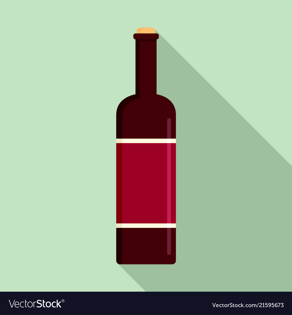 Glass bottle of red wine icon flat style
