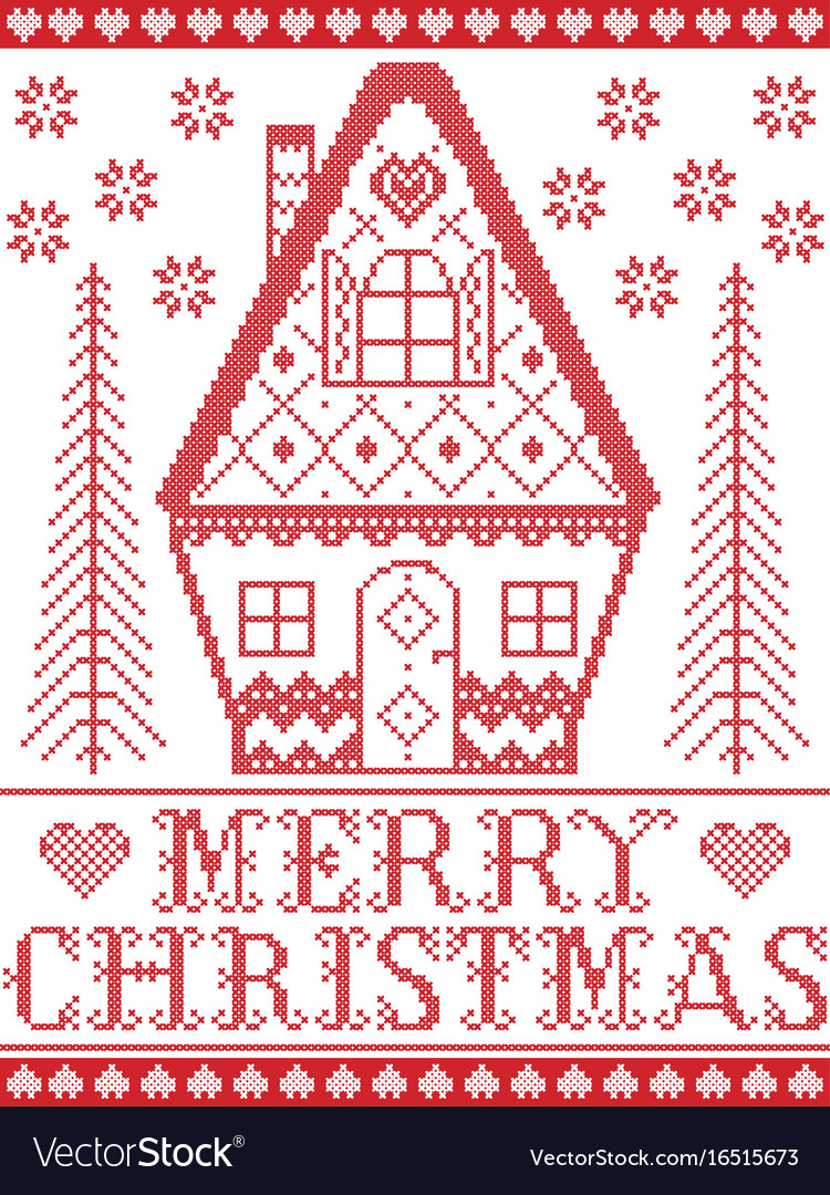 Merry christmas nordic gingerbread house pattern