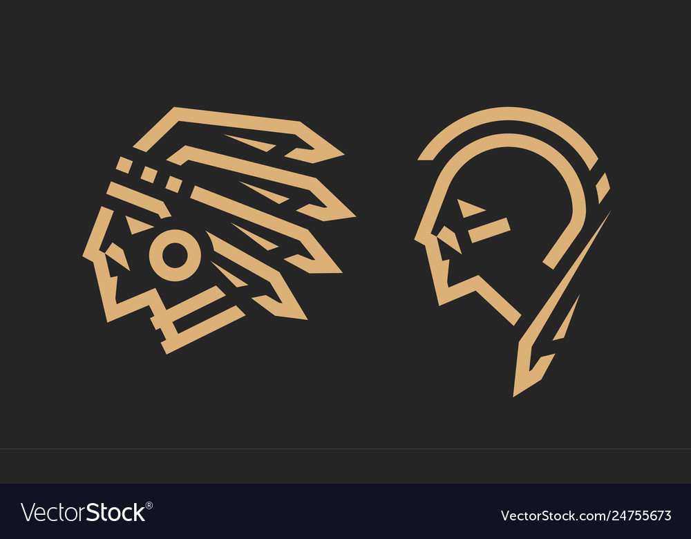 Native american logo chief and warrior