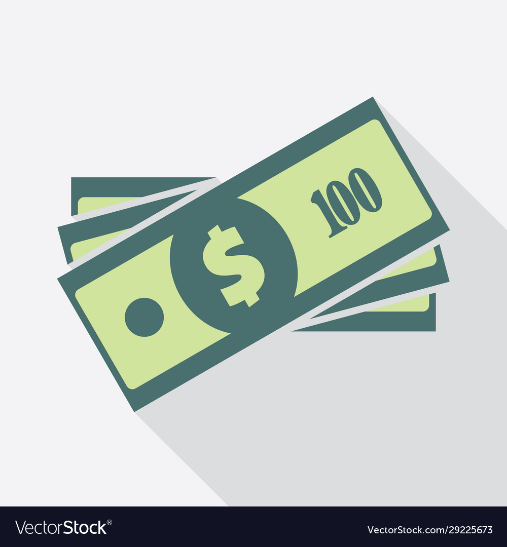 Stack one hundred dollars banknotes icon