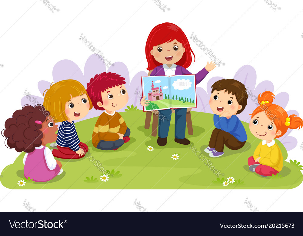 teacher telling story to children in the garden vector image clipart children playing soccer clipart children playing in summer