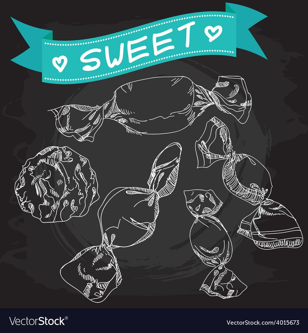 Vintage Candy Poster Chalkboard vector image