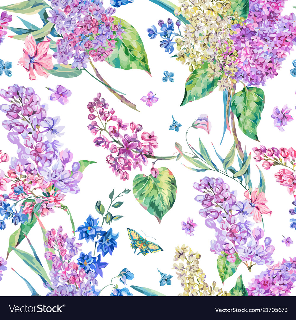 Vintage floral seamless pattern with pink