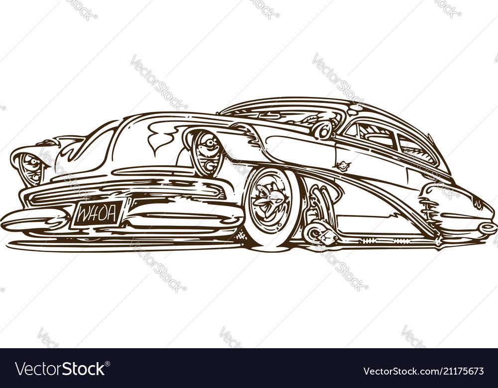 Vintage muscle cars inspired cartoon sketch