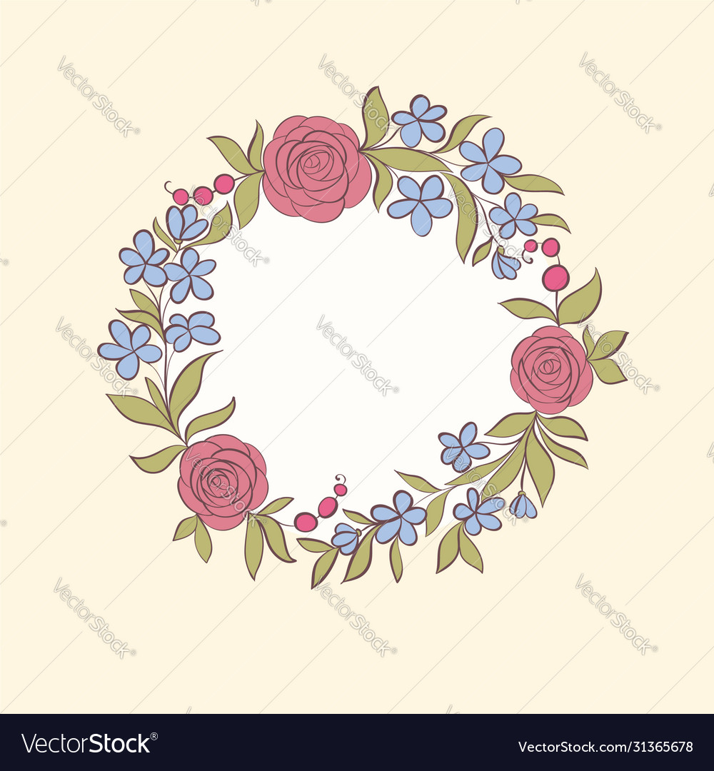 Beautiful greeting card floral wreath