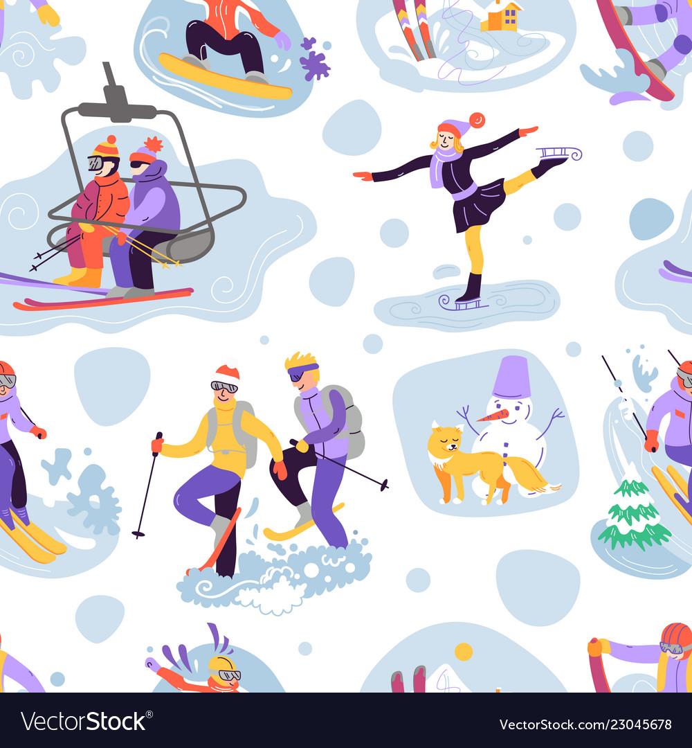 Beautiful seamless pattern with ski