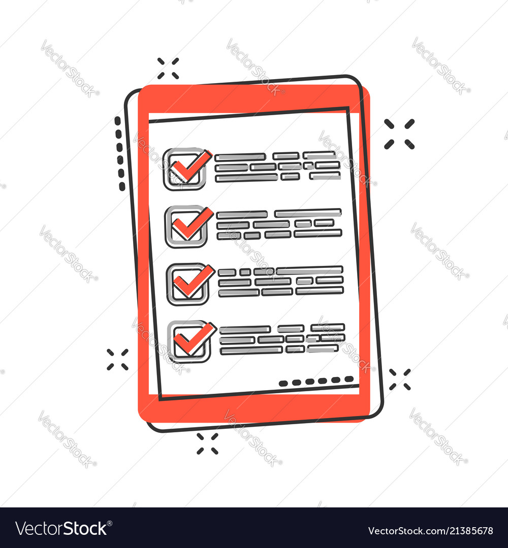 Cartoon checklist with tablet icon in comic style