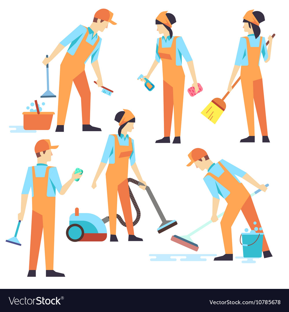 Cleaning staff in different positions