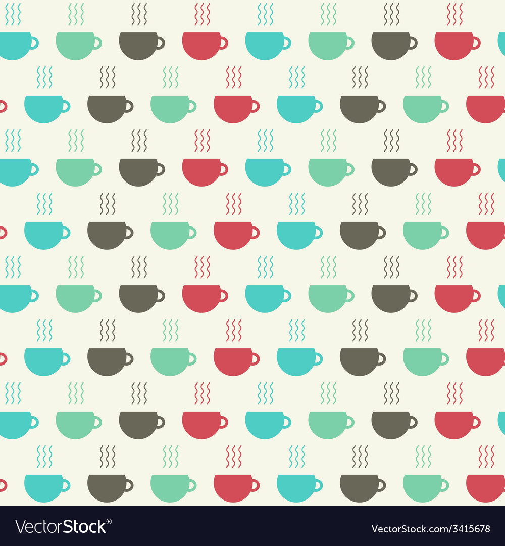 Cups of coffee seamless pattern vector image