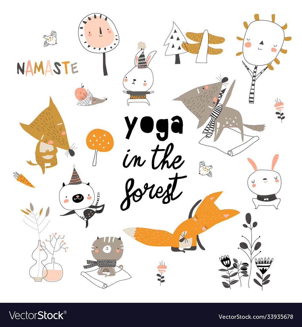 Cute cartoon animals doing yoga exercises in the