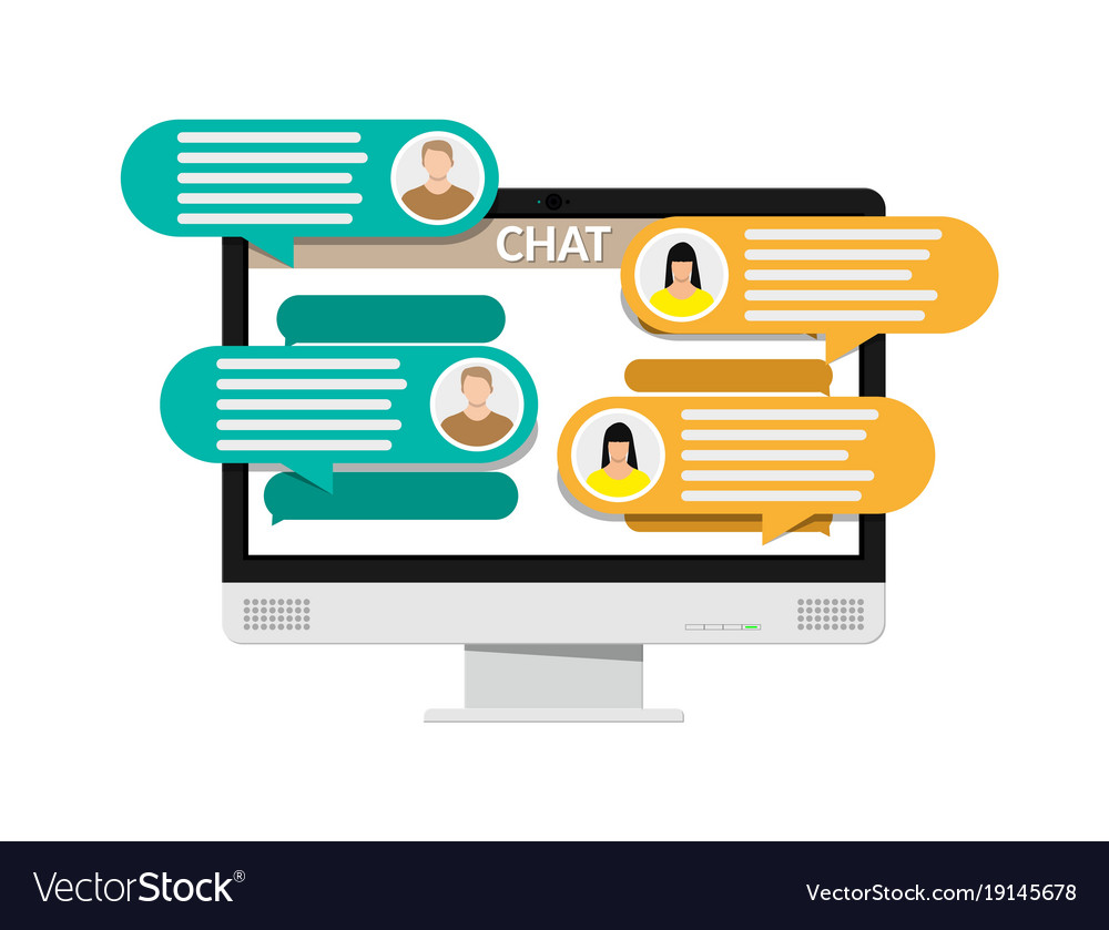 Desktop pc with messaging sms app