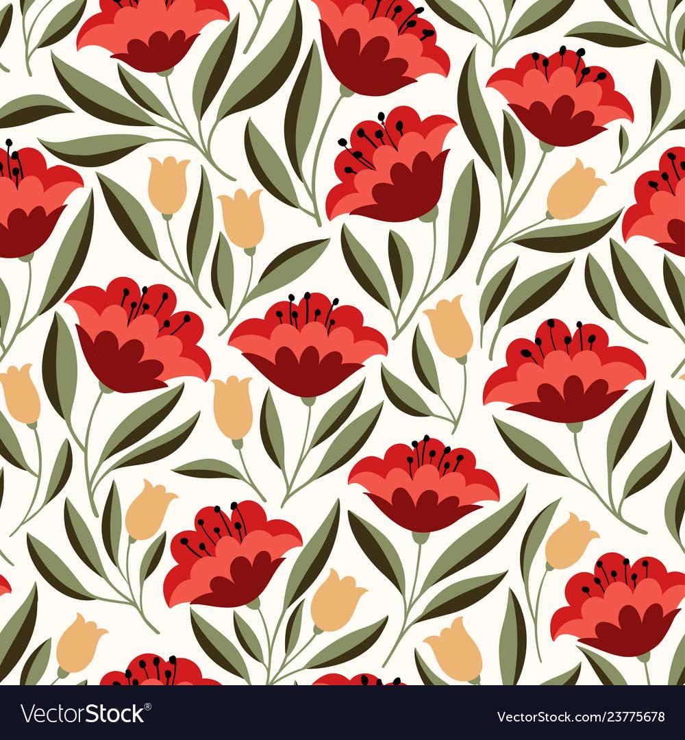 Folk flowers seamless pattern