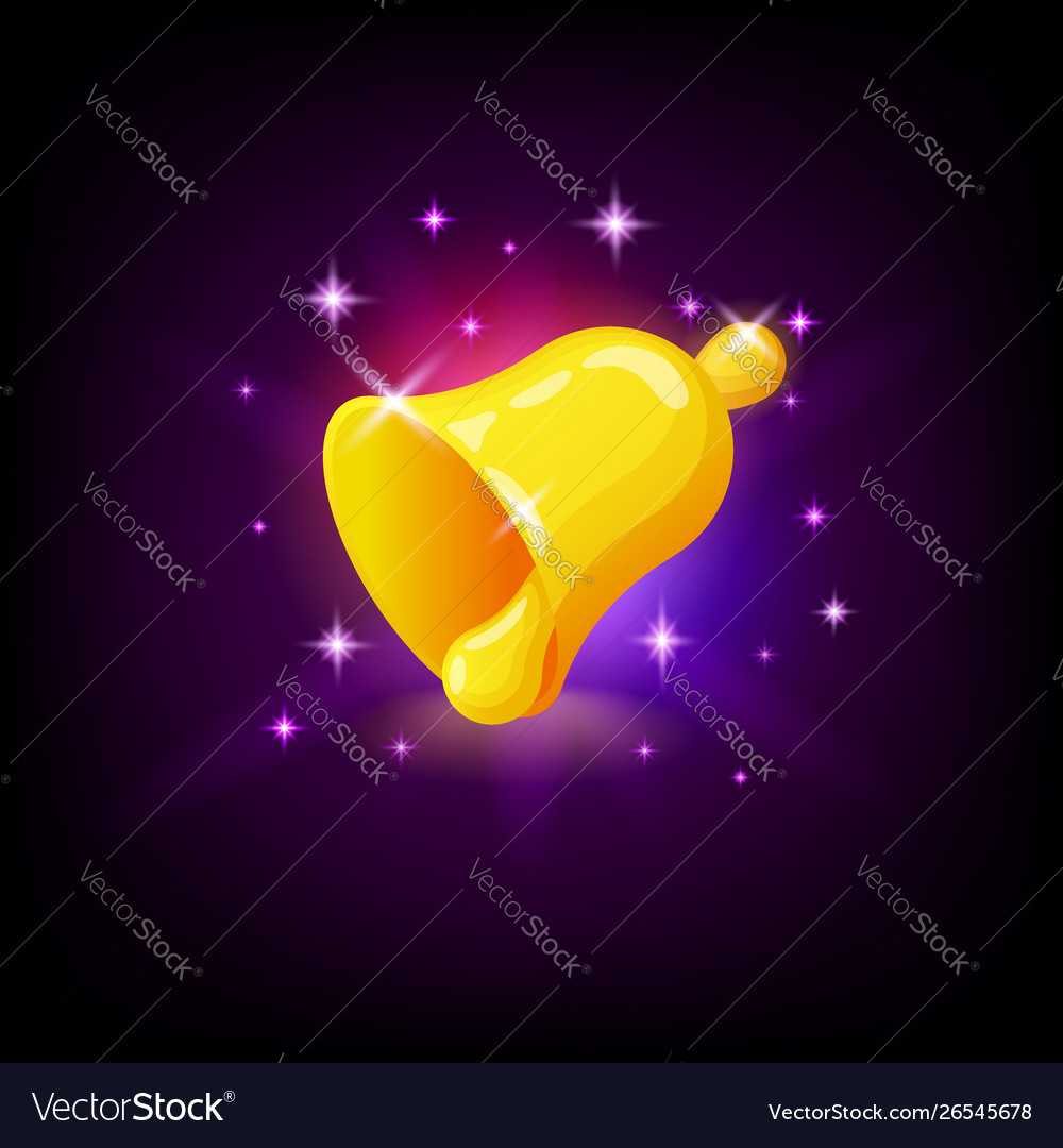 Golden bell with sparkles slot icon for online