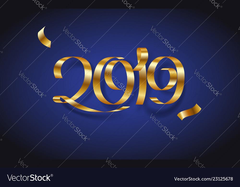 Golden ribbon inscription happy new year 2019 on