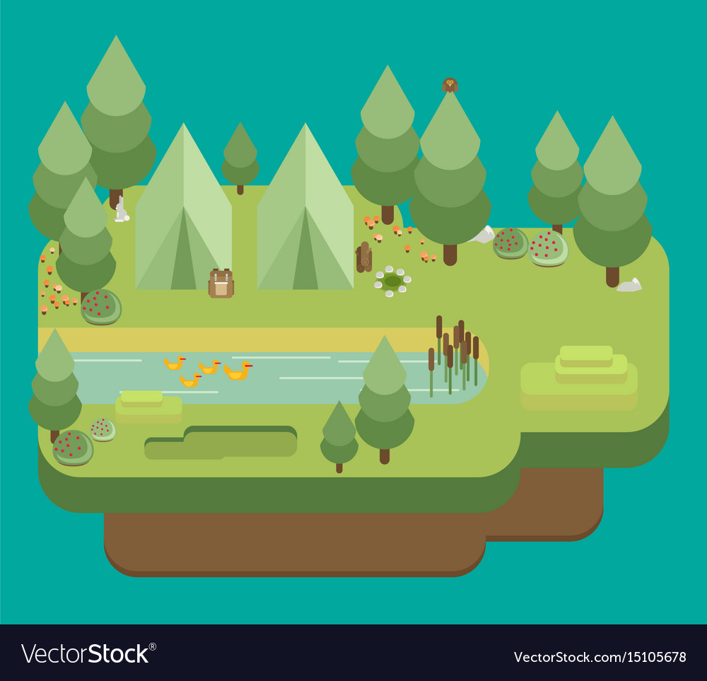 Hiking and camping summer landscapes flat design