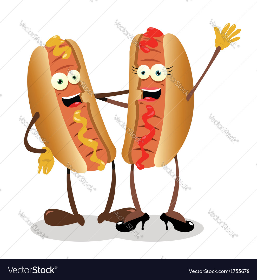 Hot dog couple vector image