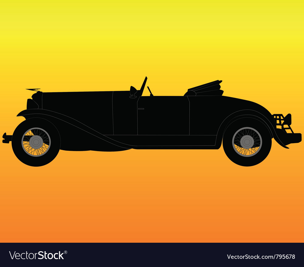 Old convertible car Royalty Free Vector Image - VectorStock
