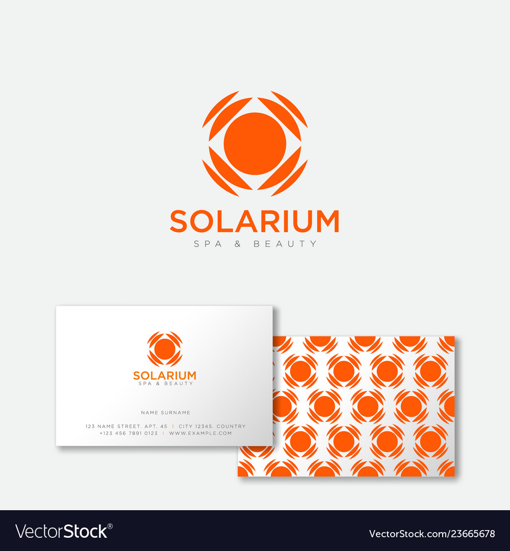 Orange solarium logo sun emblem suntan salon