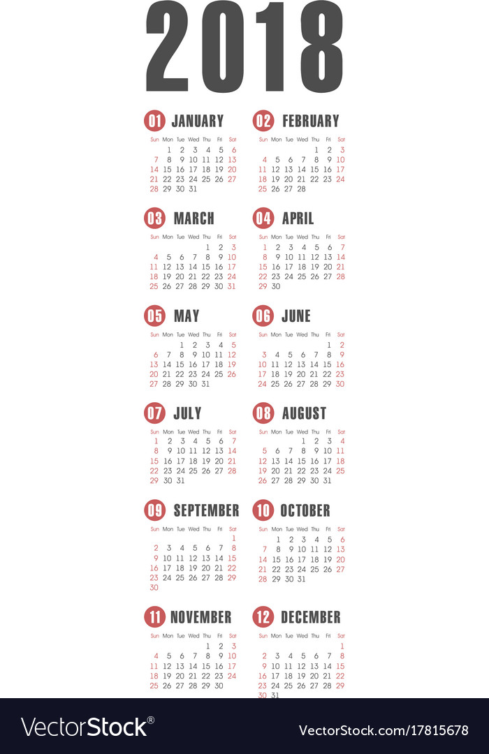 pocket 2018 year calendar vector image