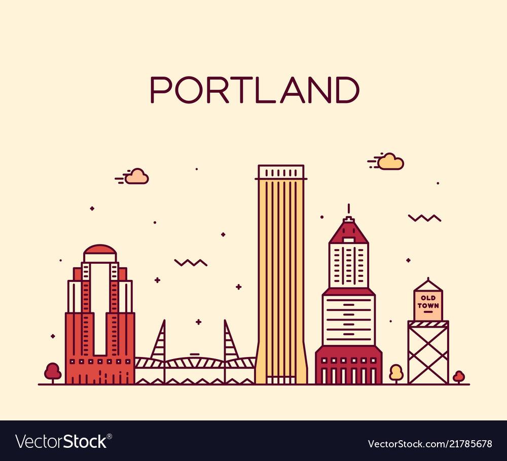 Portland oregon usa linear art style city
