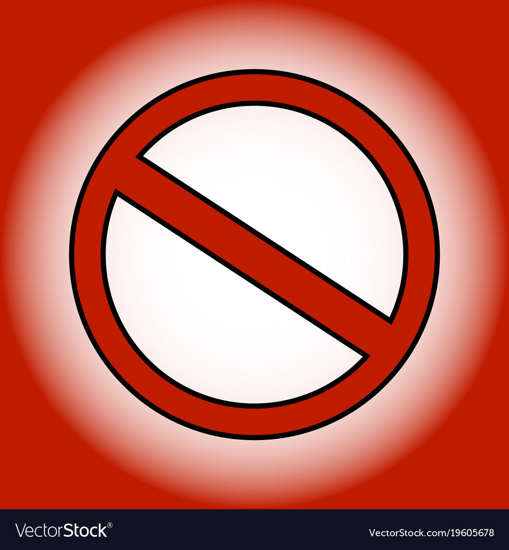Red prohibition sign on gradient background