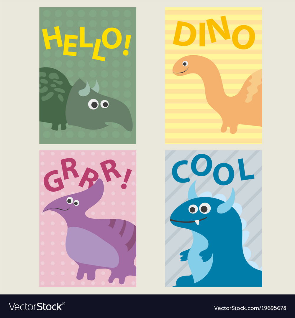 Set of 4 cards templates with dinosaurs for