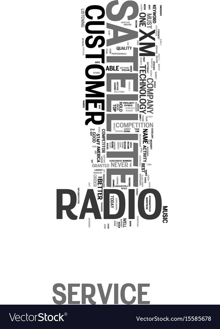 Xm satellite radio customer service text word vector image