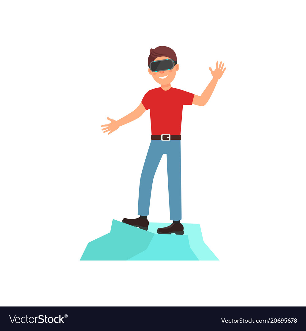 e4375877f1f7 Young man playing video game in virtual reality Vector Image