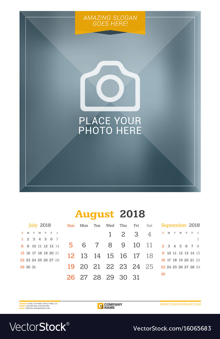 August 2018 wall calendar for 2018 year design vector image