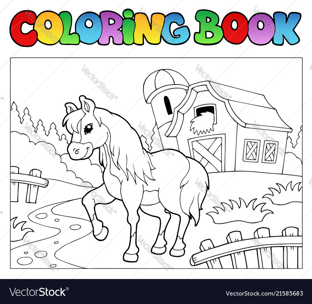 Coloring book with farm and horse Royalty Free Vector Image