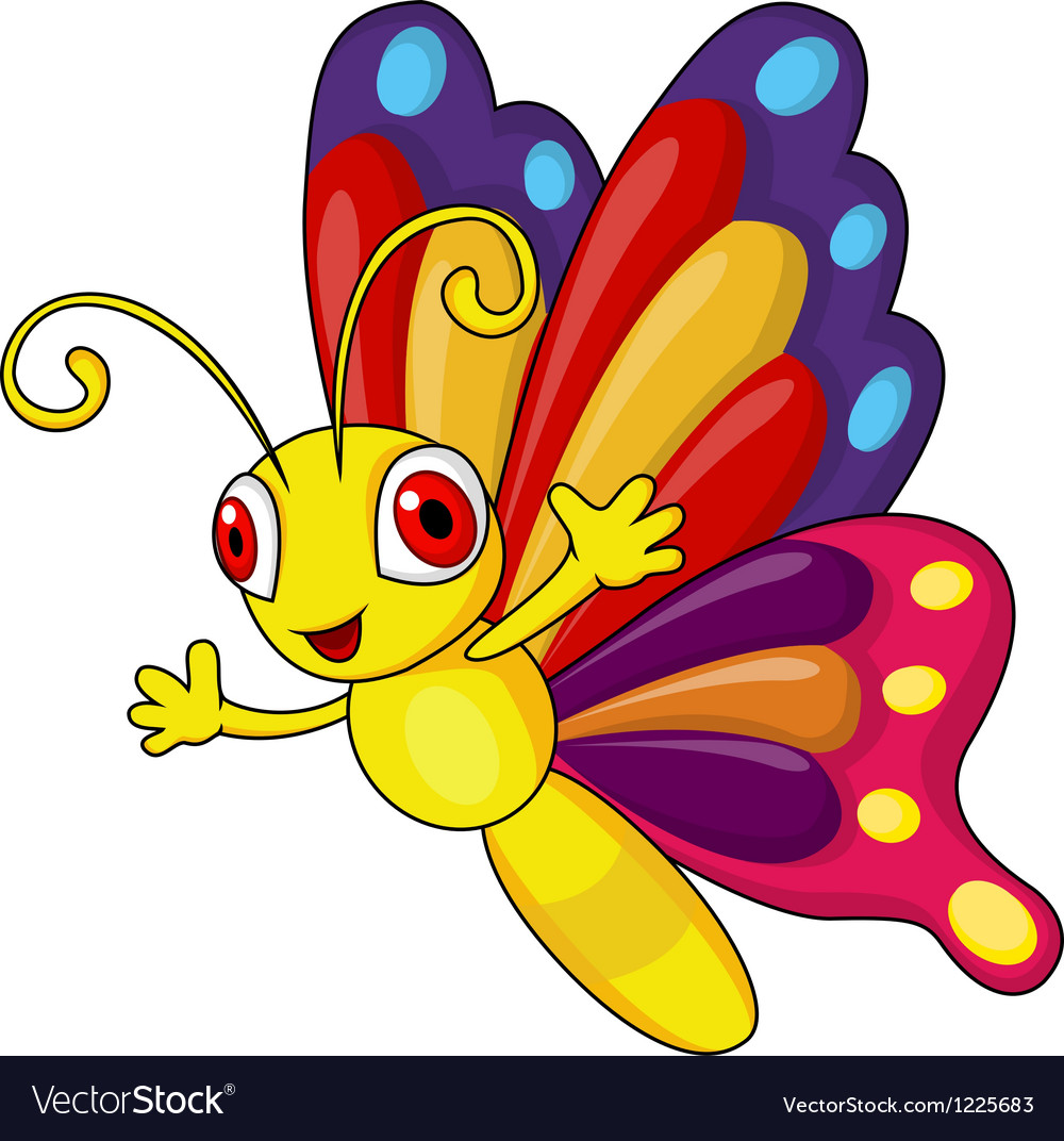 funny butterfly cartoon royalty free vector image rh vectorstock com cartoon butterfly images free cartoon butterfly pictures and flowers