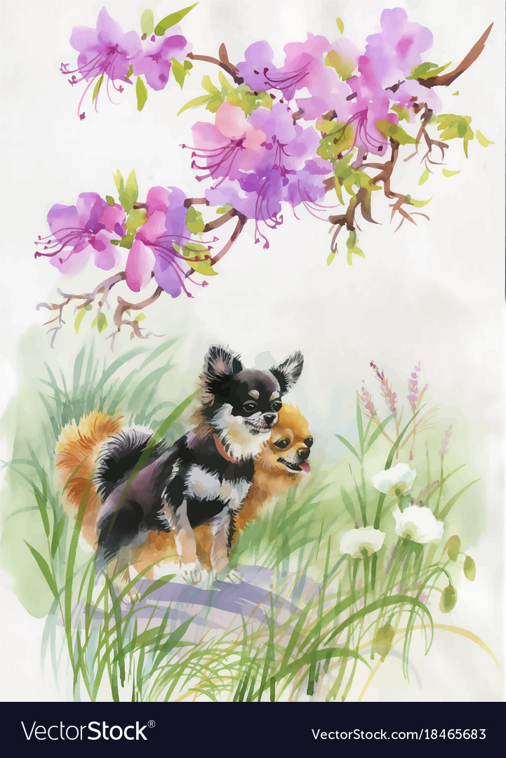 Hand drawn dogs on the nature watercolor