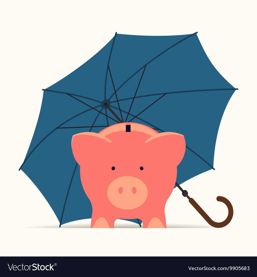 Piggy Bank Standing Under an Umberella vector image