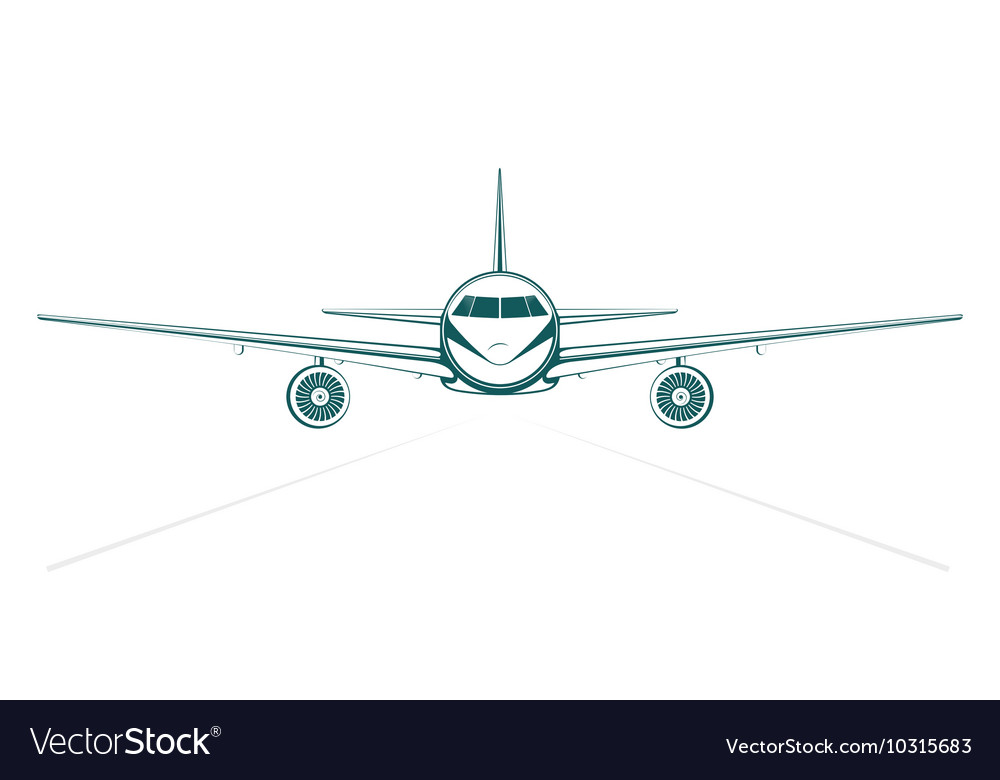 Plain blue painted outline passenger jet from the