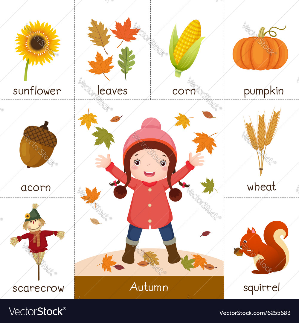 image about Autumn Printable known as Printable flash card for autumn and small lady