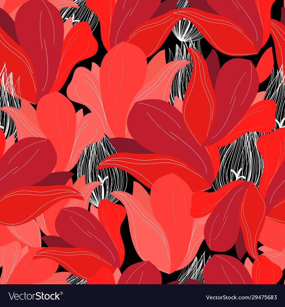 Seamless bright pattern red flowers