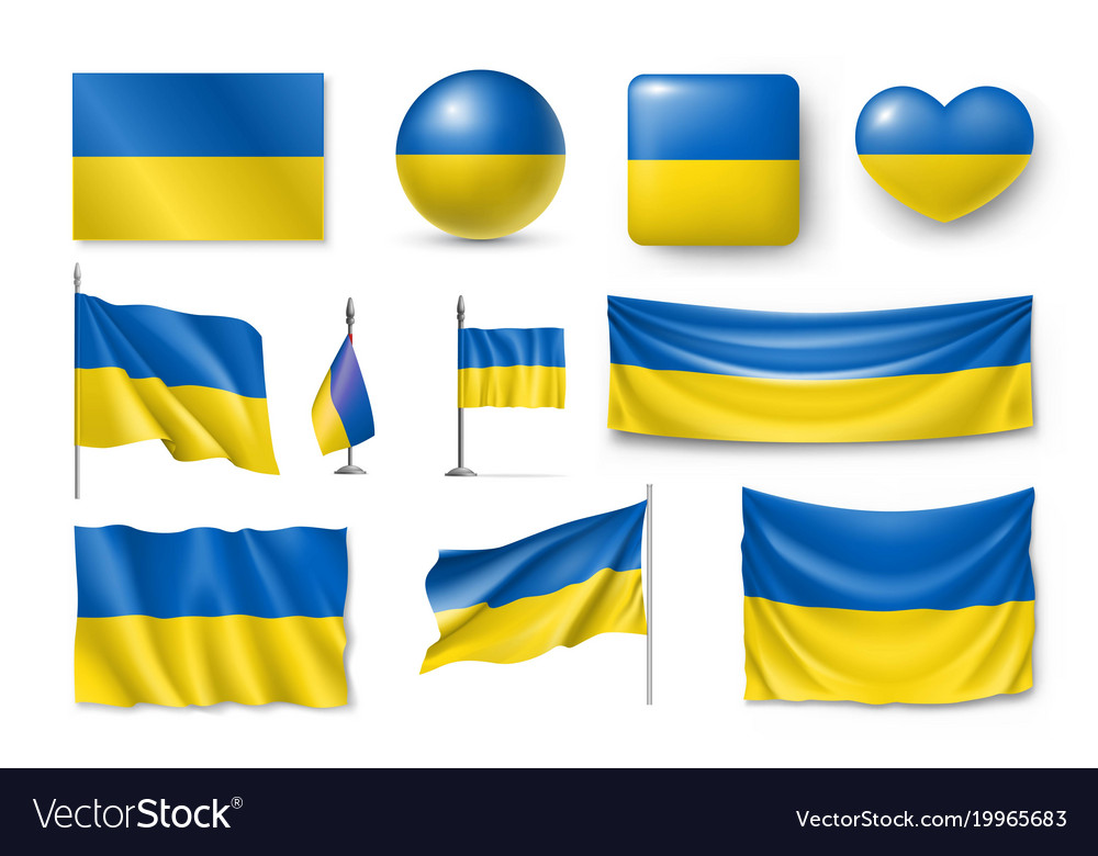 Set ukraine flags banners banners symbols flat