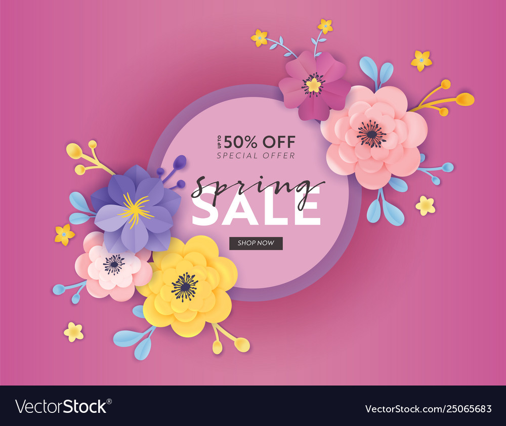 Spring sale special offer banner paper cut flowers