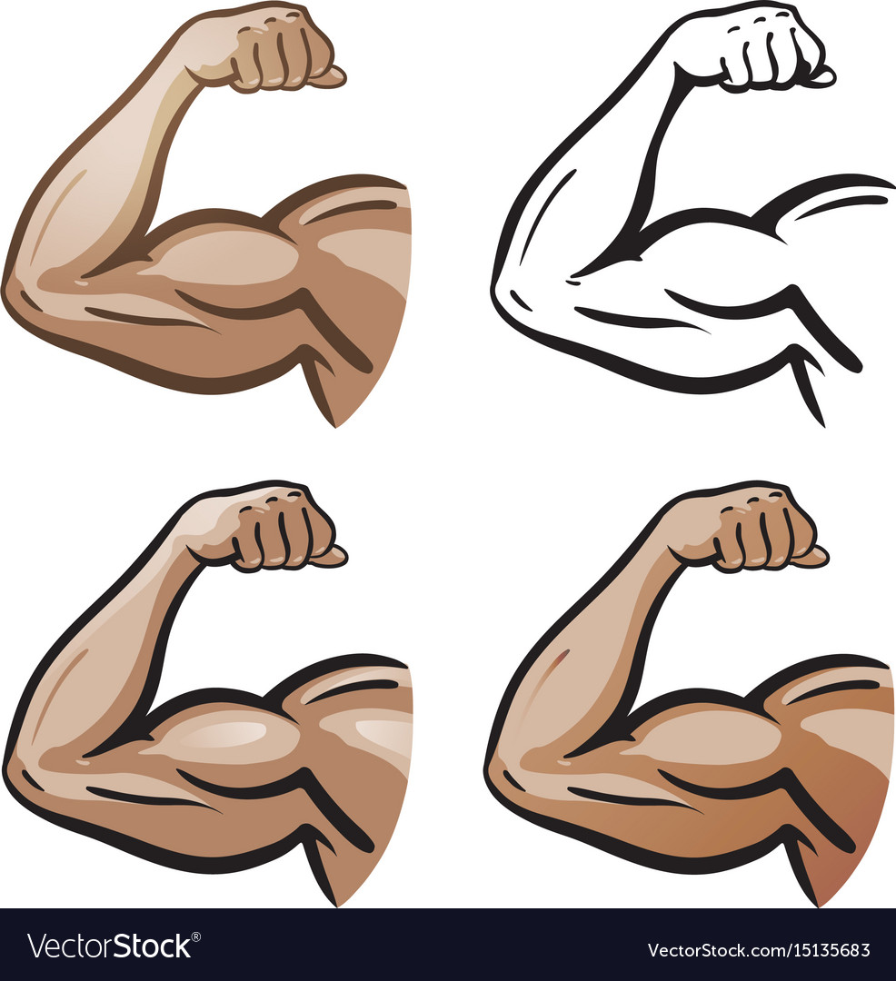 Strong male arm hand muscles biceps icon or
