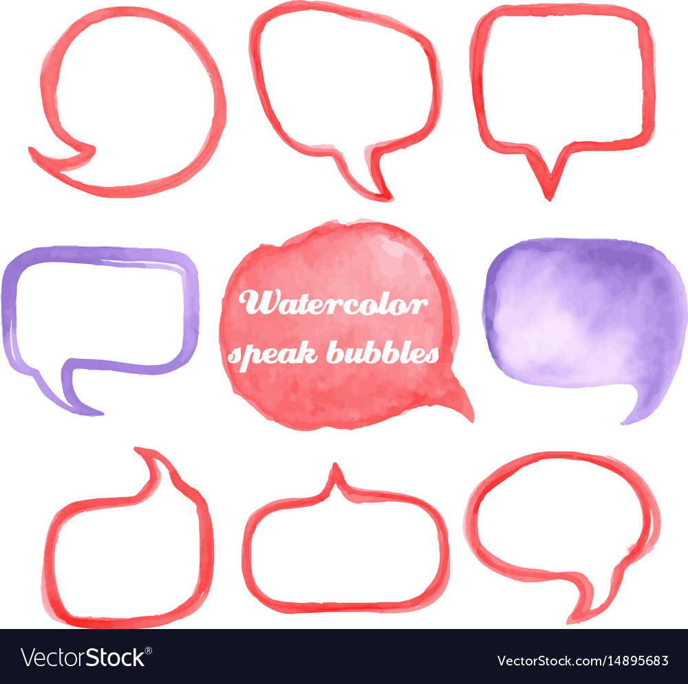 Watercolor speach bubbles vector image
