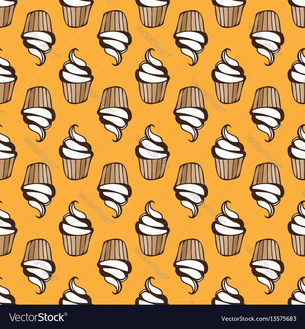 White cream cupcake seamless yellow pattern