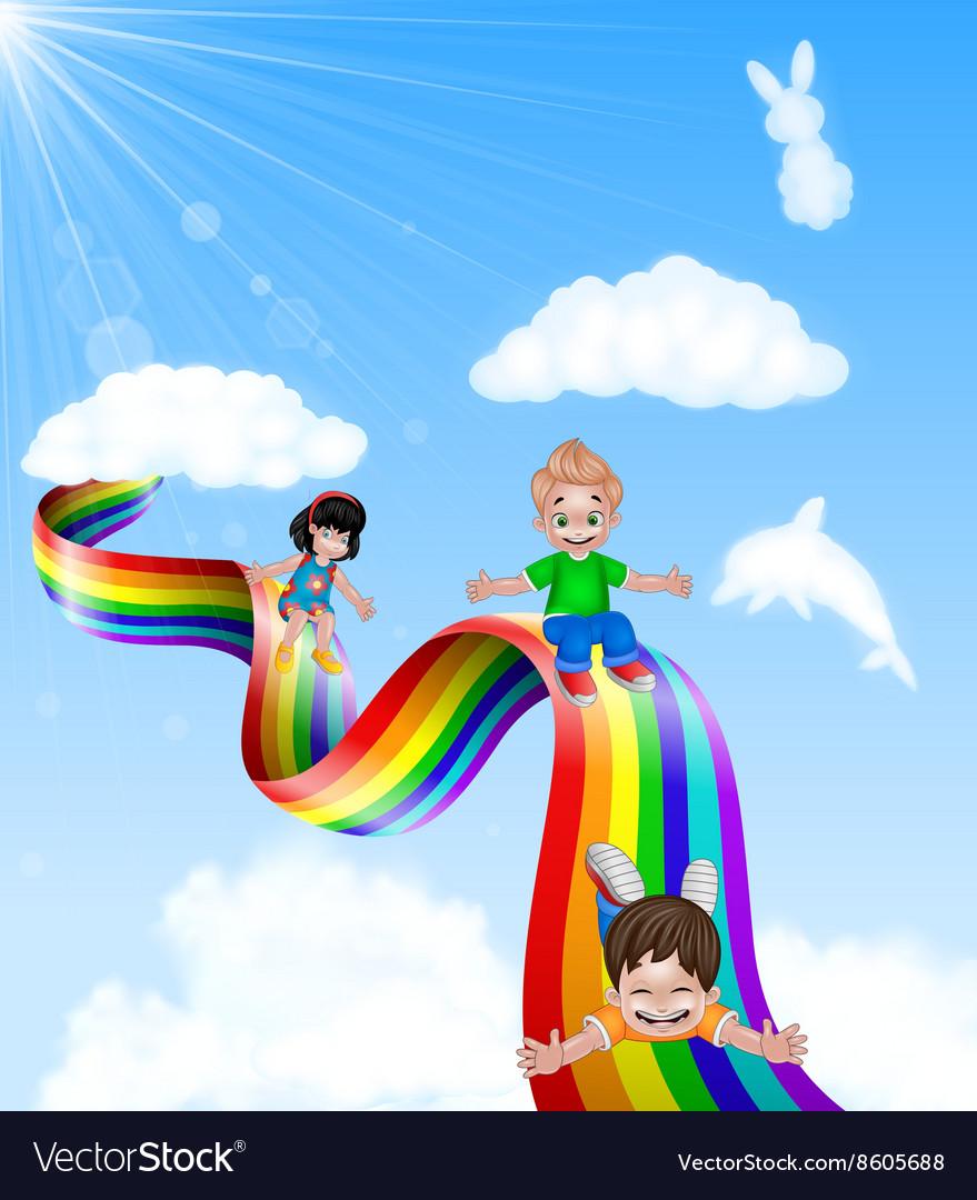 Cartoon little kids playing slide on rainbow vector image