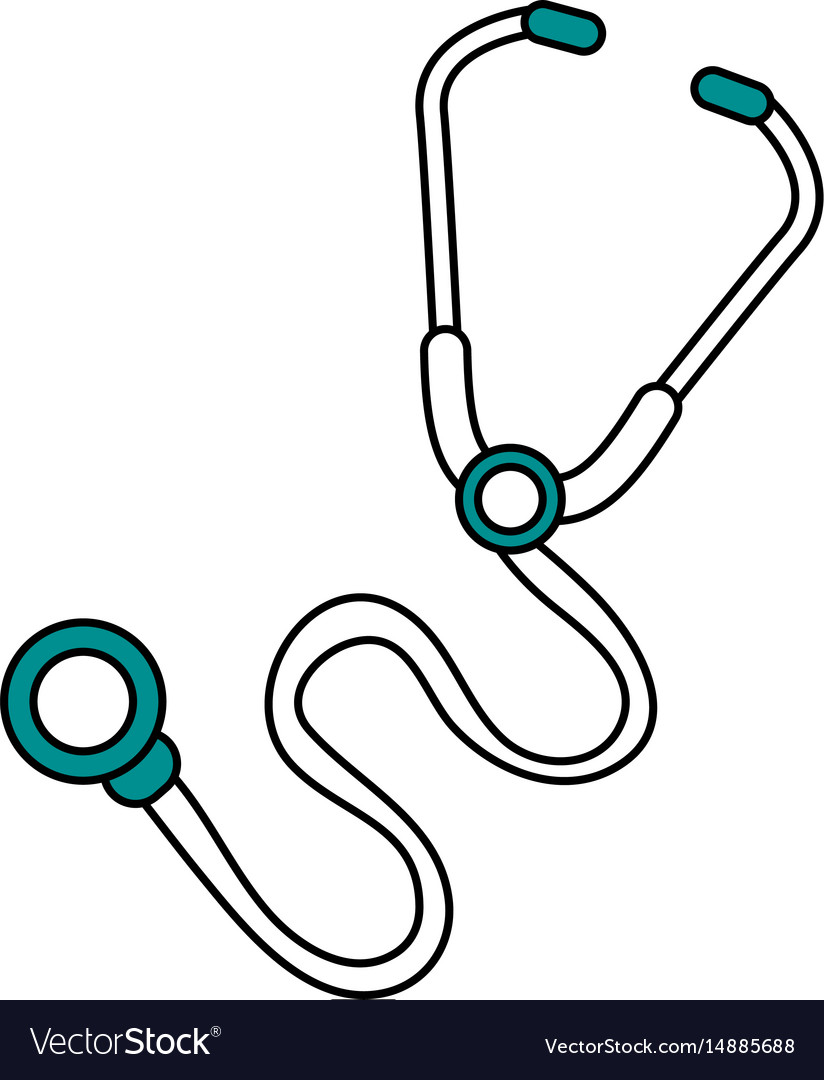 Color silhouette image cartoon stethoscope medical vector image