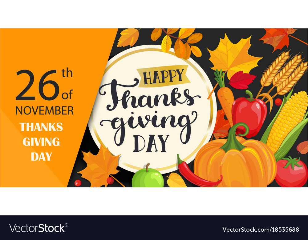 Happy thanksgiving day card with lettering in