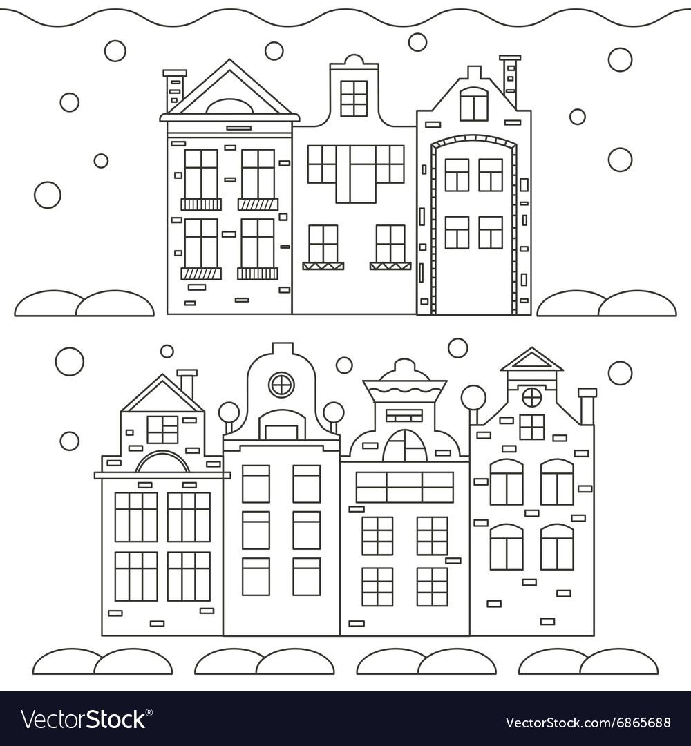 Christmas House Drawing.Icons Linear Christmas Houses